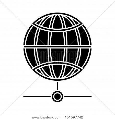 silhouette sphere with meridians and mesh vector illustration
