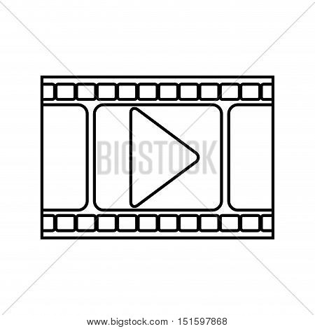 silhouette filmstrip with play buttom vector illustration