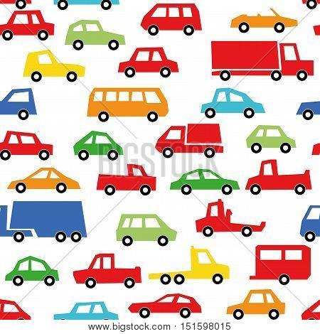Car Collection Seamless Patten , Automobile Set