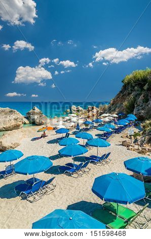 Kavalikefta Beach, Lefkada Island, Greece. Beautiful turquoise water of Kavalikefta Beach on the island of Lefkada in Greece