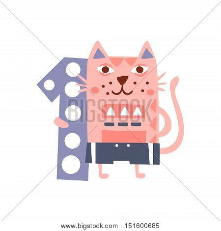Cat Standing Next To Number One Stylized Funky Animal. Weird Colorful Flat Vector Illustration For Kids On White Background,