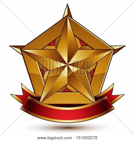 3d golden heraldic blazon with glossy pentagonal star best for web and graphic design