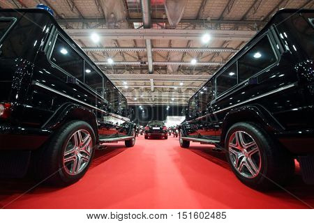 MOSCOW - MAR 07, 2016: Garage of special function for high-class cars at exhibition Oldtimer-Gallery in Sokolniki Exhibition Center. It is only one in Russia exhibition of vintage cars and antiques