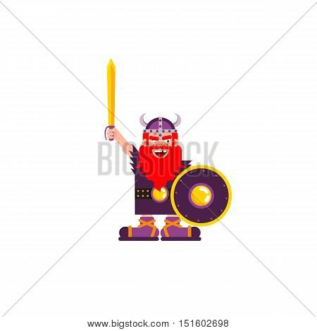 Stock vector illustration of isolated character Warrior Viking with a sword and shield on white background in a flat style