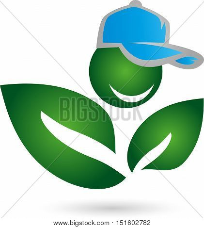 Man and leaves, plant and cap logo