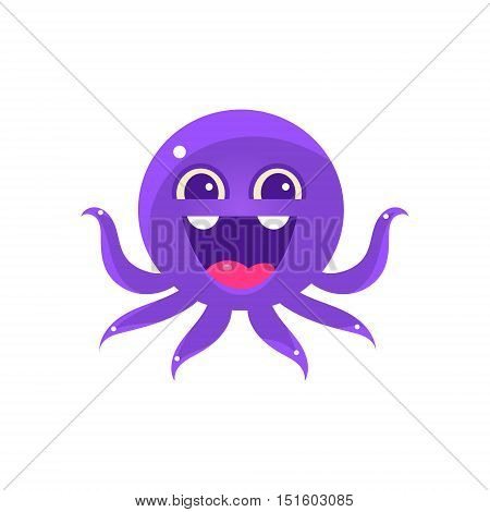 Ecstatic Funny Octopus Emoji. Cute Vector Emoticon In Cartoon Childish Style Isolated On White Background.