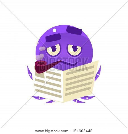 Funny Octopus Reding Newspaper Emoji. Cute Vector Emoticon In Cartoon Childish Style Isolated On White Background.