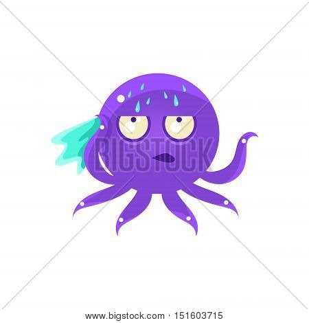 Sweating Funny Octopus Emoji. Cute Vector Emoticon In Cartoon Childish Style Isolated On White Background.