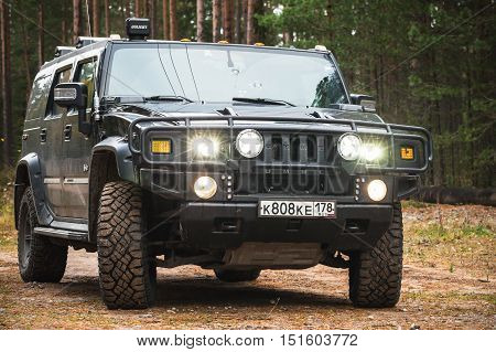 Black Hummer H2 Vehicle With Lights