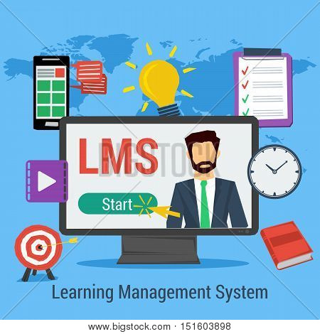 Vector Square Concept of Learning Management System - LMS. Man on computer monitor, elements for distance education, clock, book in flat style on map background
