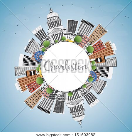 Charleston Skyline with Gray Buildings, Blue Sky and Copy Space. West Virginia. Vector Illustration. Business Travel and Tourism Concept with Modern Architecture. Image for Presentation Banner Placard