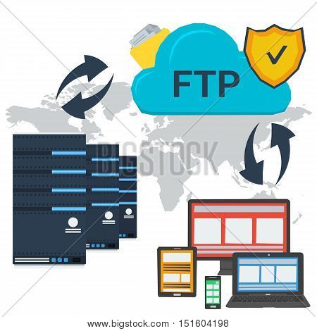 Vector concept internet FTP server and online cloud storage and easy access to personal data with various devices. Web infographic or square banner in flat style