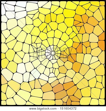 Abstract Mosaic Pattern Consisting Of Yellow Geometric Elements Of Different Sizes And Colors. Vecto
