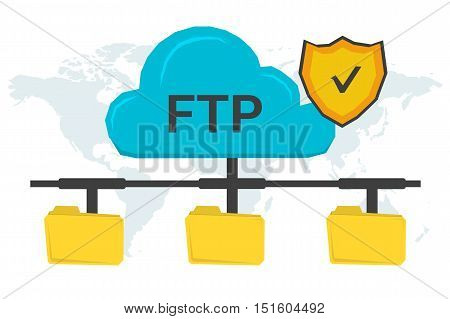 Vector concept secure FTP connection. Online cloud with antivirus shield and three yellow file folders connected with it on world map background in flat style
