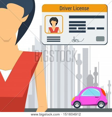 Vector illustration in flat style girl with pink car and driver license in the corner of the banner. The concept of successful training in drivers school