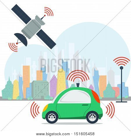 Vector self driving car on colored megalopolis city background and blue sky. Green small autonomous driverless machine with radar on top and satellite control. Future technologies in flat style