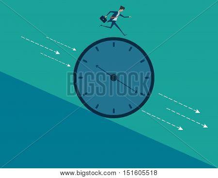 Vector Illustration Of A Businessman Running Nonstop On A Clock Wheel Gliding Downhill