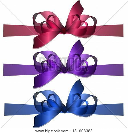 High quality original trendy realistic vector bowknot and ribbon isolated on white background