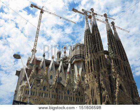 05.07.2016 Barcelona Spain: Sagrada Familia church under construction with building cranes.
