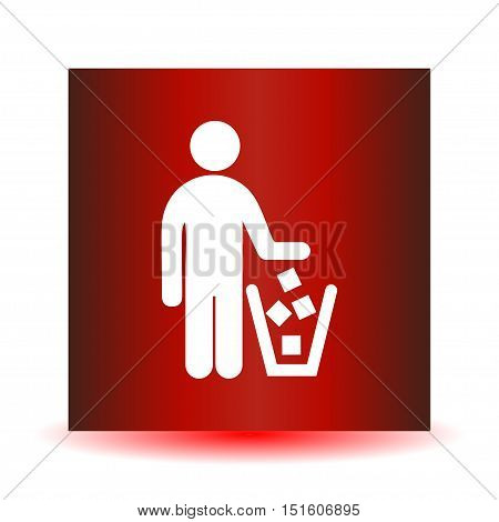 No littering sign in vector.  A red icon on a white background.