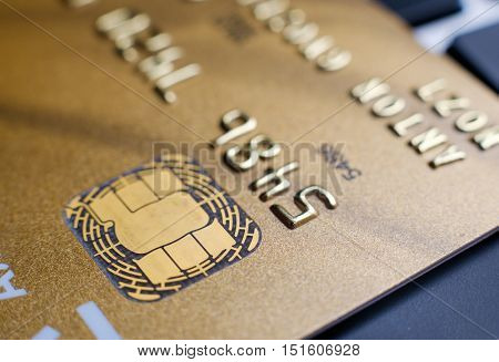 Plastic payment card chip close up