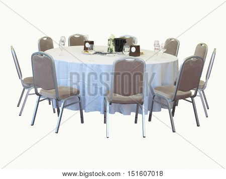 Dining Table With Chairs Isolated On White Background