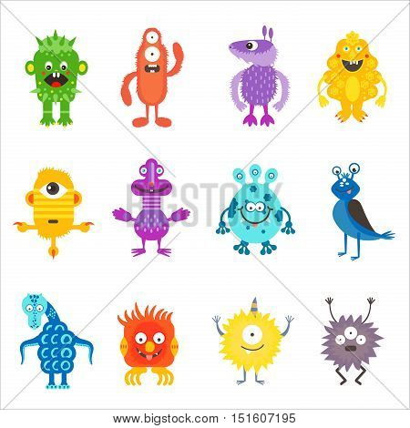Cartoon cute color monsters aliens set isolated.