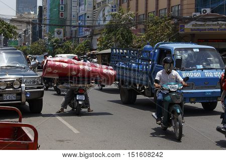 Crazy Transport In Phnom Phen, Wrong Way
