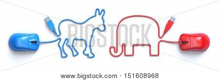 Computer mouse and cable in the shape of the donkey and the elephant, mascots of american political parties - 3D illustration