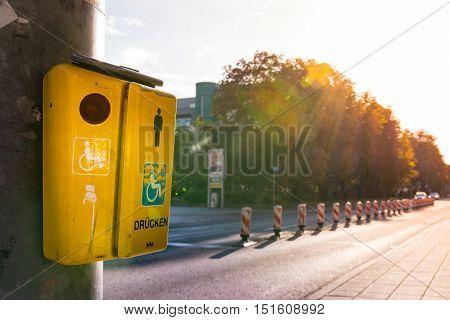 Sunset Crosswalk Button Cross Handicap German Drucken Press Road Street Outside Warm Metal