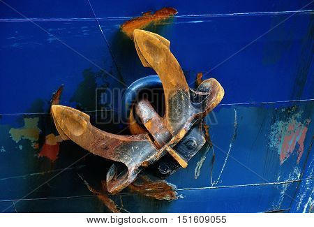 A massive anchor with rust is fastened on the hull of a blue ship.