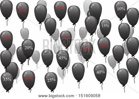 Very high quality original vector realistic black balloons with discount