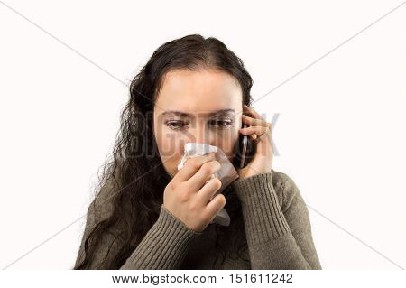 sick woman doctor urgently calling with white background