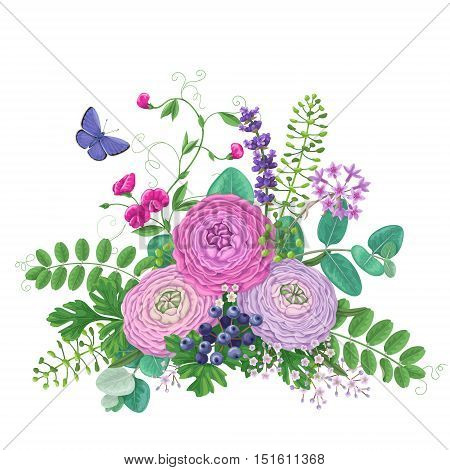 Bunch of colorful flowers and flying butterfly isolated on white. Pink and lilac buttercup with floral elements and berries. Romantic bouquet.