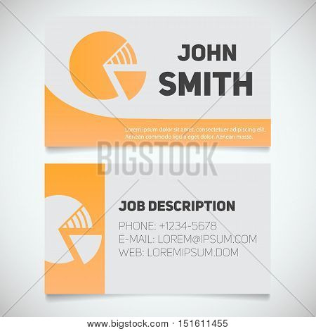 Business card print template with diagram logo. Easy edit. Marketer. Analyst. Stockbroker. Economist. Stationery design concept. Vector illustration