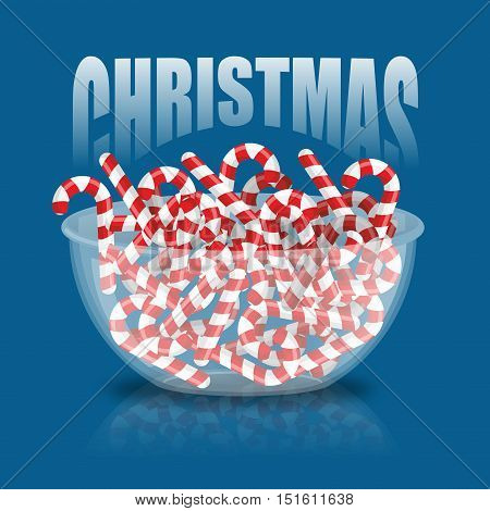 Christmas. Bowl And Peppermint Christmas Candy. Sweets On Plate. Traditional Treat For New Year. Min