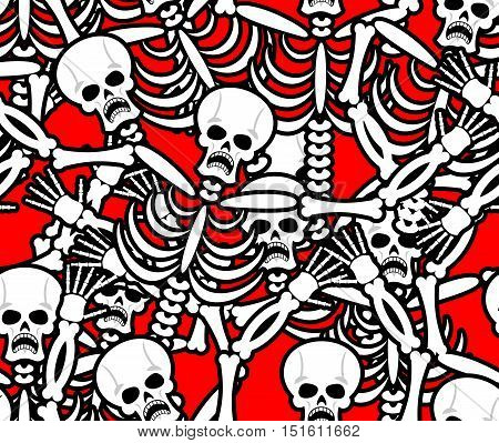 Hell Seamless Pattern. Skeleton In Sinners Background. Ornament Of Dead. Bones And Skull Texture. In