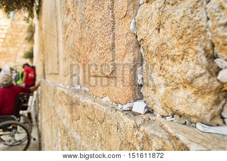 close up of the Wailing Wall in Jerusalem Israel
