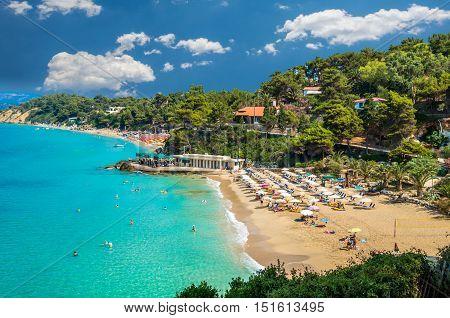 Platis Gialos and Makris Gialos Beach, Kefalonia island, Greece. Spectacular view over the beaches of Platis Gialos and Makris Gialos near Lassi, Argostoli.