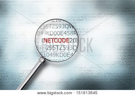 scanning digital netcode on computer screen with magnifying glass 3D Illustration