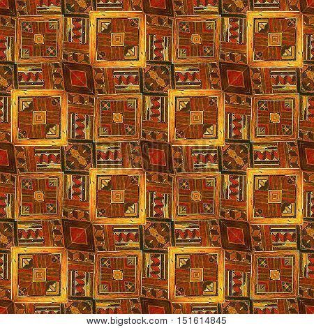 Wooden seamless vintage pattern of squares. Wooden inlaid floor with kaleidoscopic ornamental pattern