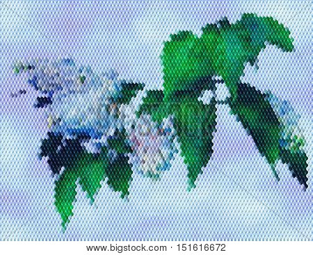Flowering lilac on a background of blue sky. Mosaic background of cubes with lilac and green leaves