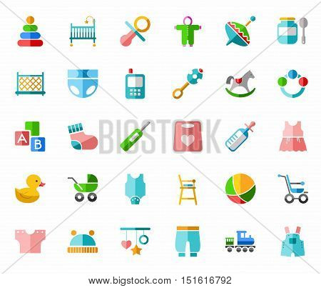 Products for children, colored icons, flat.  Vector clip art with clothes, toys and personal items for newborns and young children. Colored flat icons on white background.