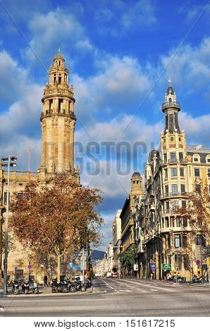 BARCELONA - DECEMBER 26: View of Laietana street in downtown of Barcelona on December 26 2014. Barcelona is the secord largest city of Spain.