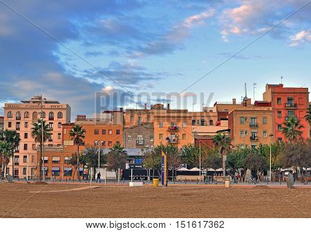 BARCELONA - DECEMBER 6: View of Barceloneta district of Barcelona city on December 6 2014. Barcelona is the secord largest city of Spain.