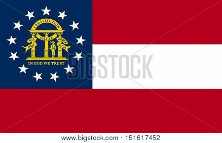 Georgian official flag symbol. American patriotic element. USA banner. United States of America background. Flag of the US state of Georgia correct size proportions and colors vector illustration