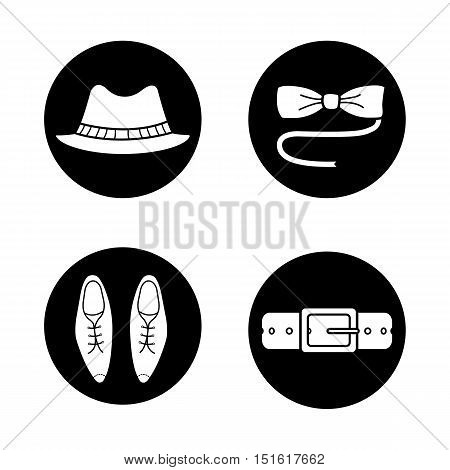 Men's accessories icons set. Homburg hat, butterfly bow tie, classic leather shoes and belt. Vector white illustrations in black circles