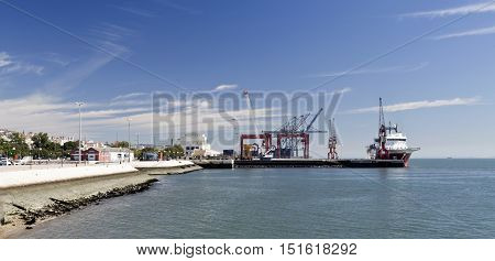 LISBON, PORTUGAL - October 5, 2016: View of the commercial docks in Lisbon Portugal
