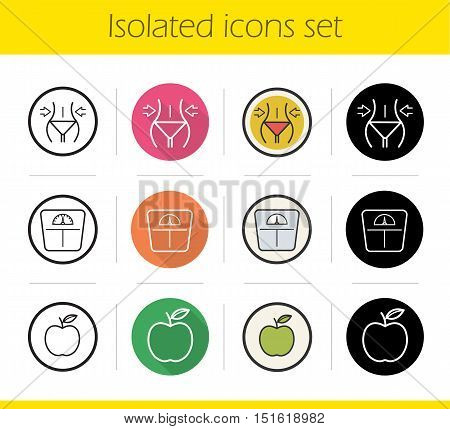 Dieting icons set. Flat design, linear, black and color styles. Weight loss, apple nutrition symbol and floor scales. Fitness. Healthy lifestyle. Diet. Sport. Isolated vector illustrations