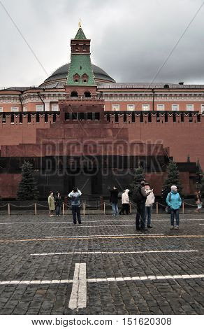 MOSCOW - OCTOBER 04, 2015: The Mausoleum of Lenin and Kremlin wall on Red Square, Moscow, Russia. UNESCO World Heritage Site.